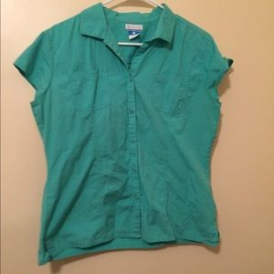 Columbia Teal Cotton Shirt with Capped Sleeves